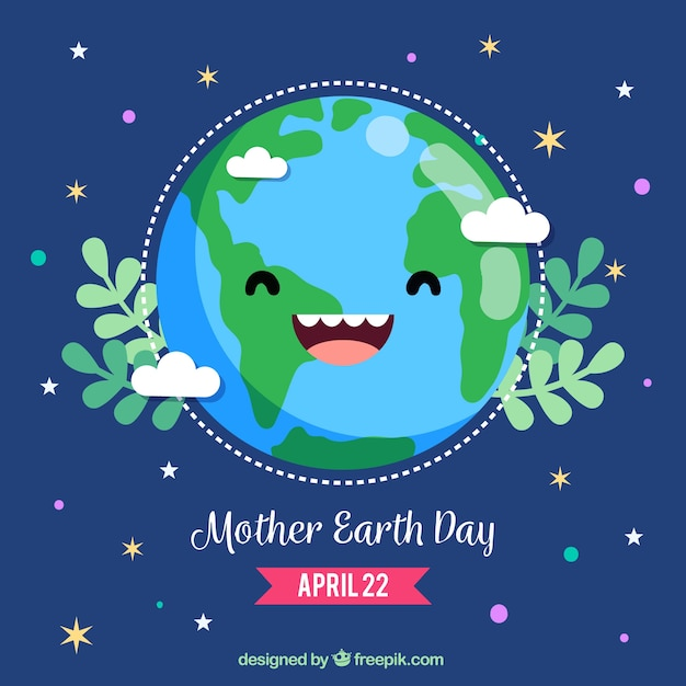Cute background for mother earth day Free Vector