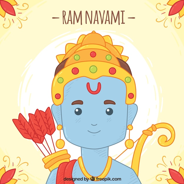 Cute background for ram navami in hand-drawn\ style