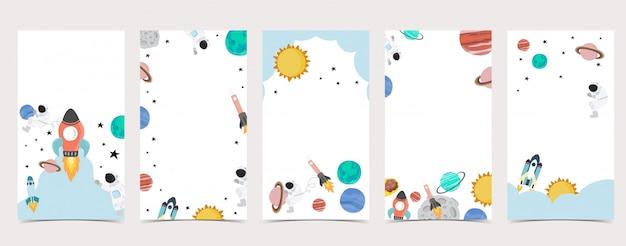 Симпатичный фон для социальных медиа. набор instagram история с космонавтом, земля, луна, звезда Premium векторы