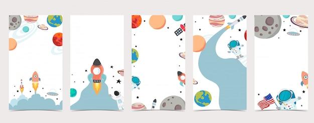 우주 비행사, 지구, 달, 스타와 함께 Instagram 이야기의 소셜 Media.set 귀여운 배경 프리미엄 벡터
