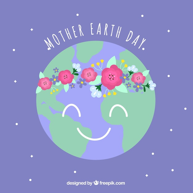 Cute Background For The International Earth Day In Flat Design