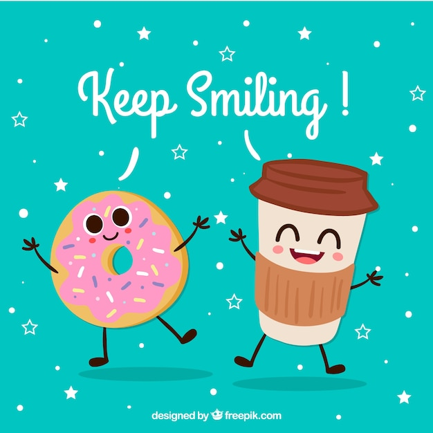 Cute background of happy drink and donut characters Free Vector