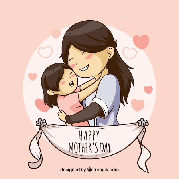 Cute background for happy mother's day Free Vector