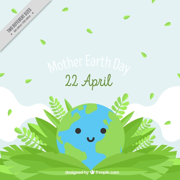 Cute Background Of Mother Earth With Vegetation In Flat Design