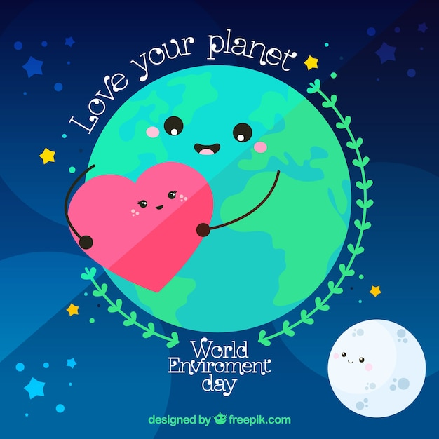 Download Vector Cute Background Of Earth Moon And Heart