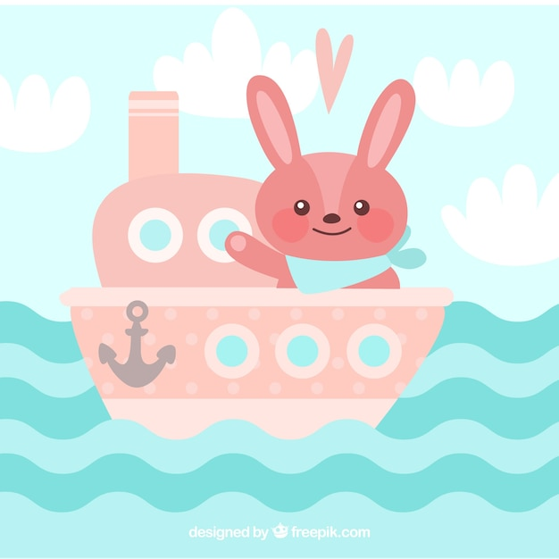 Cute background of pink boat with bunny