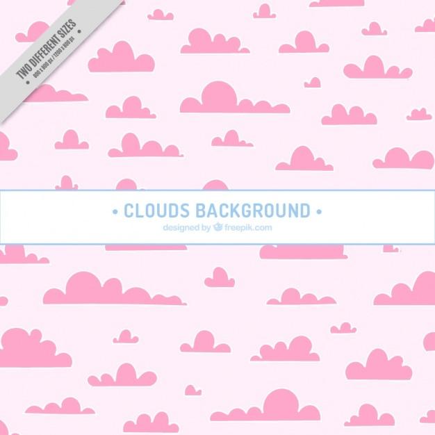 Симпатичный фон из розовых облаков Бесплатные векторы