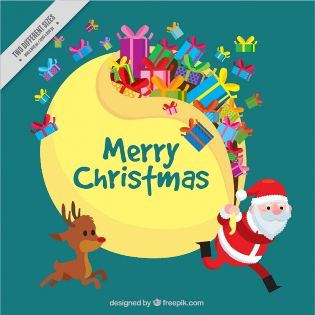 Cute background of santa claus and reindeer with gifts Free Vector