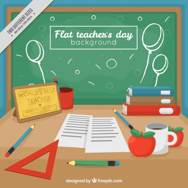 Cute background of teacher\'s day with\ blackboard