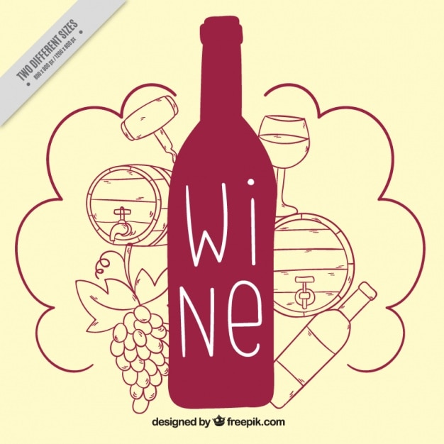 Cute background of wine bottle with drawings vector free for Cute wine bottles