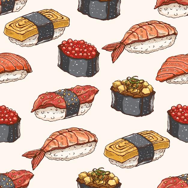 Симпатичный фон бесшовный фон с восхитительным разнообразием рисованных суши Premium векторы