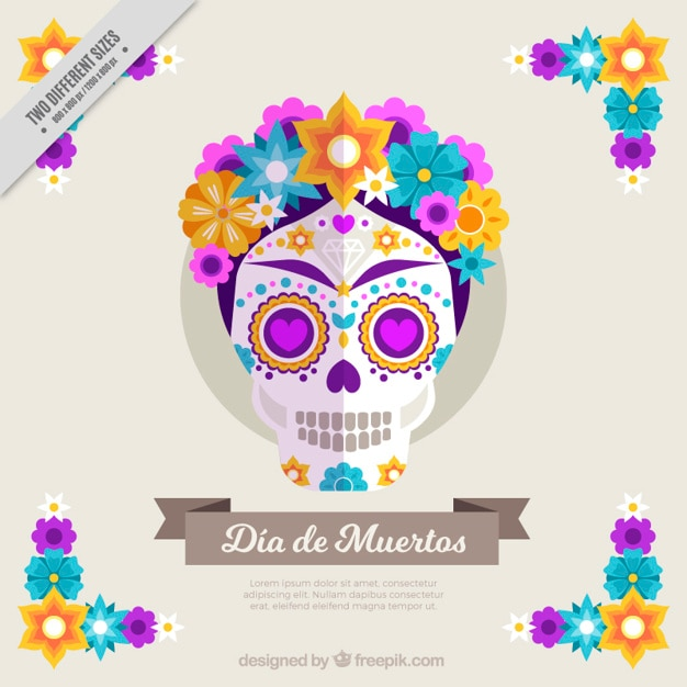 Cute background skull with colorful flowers in flat design Free Vector