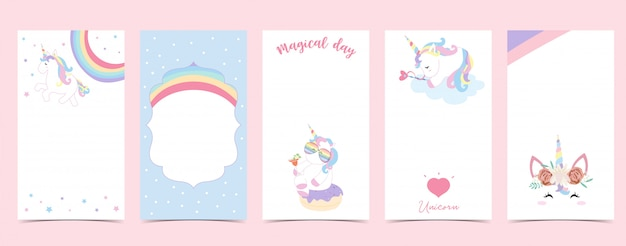 Cute background for social media.set of instagram story with unicorn,star,rainbow,heart Premium Vector