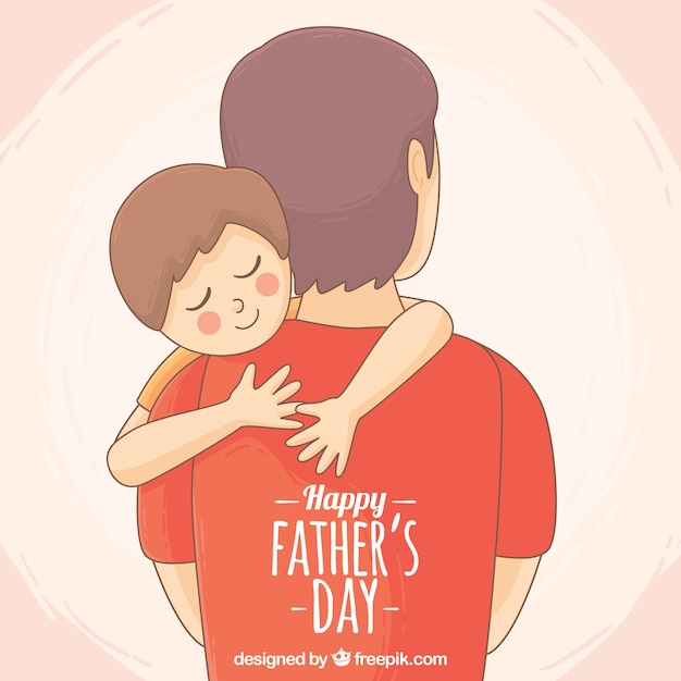 Cute background of son hugging his father Premium Vector