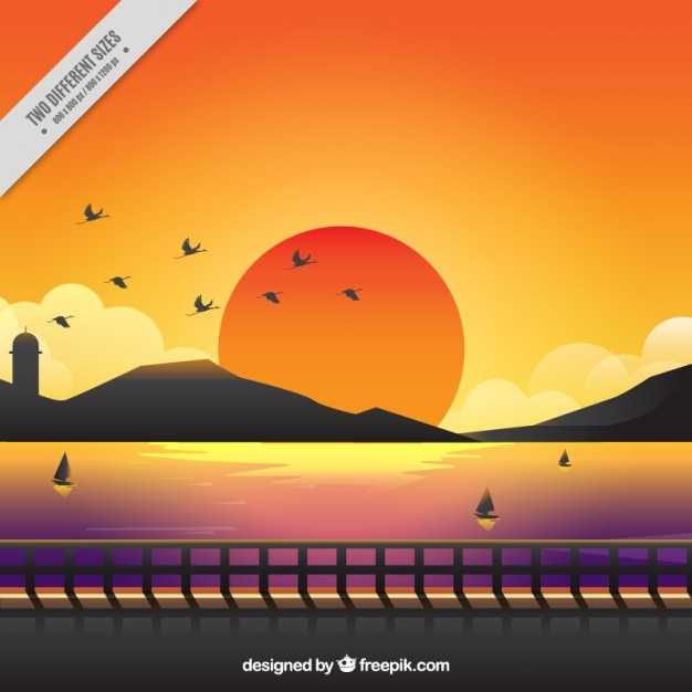 Cute background of a sunset with warm colors Free Vector