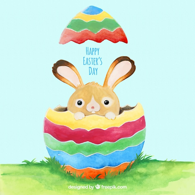 Cute background with bunny and easter egg