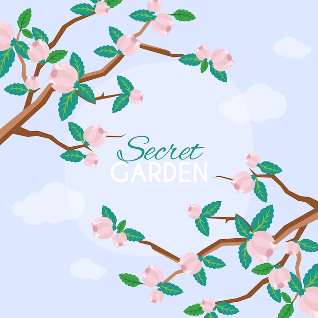 Cute background with cherry blossom flowers Premium Vector