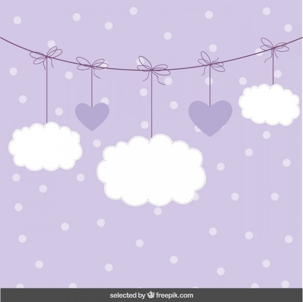 Cute background with clouds and hearts Free Vector