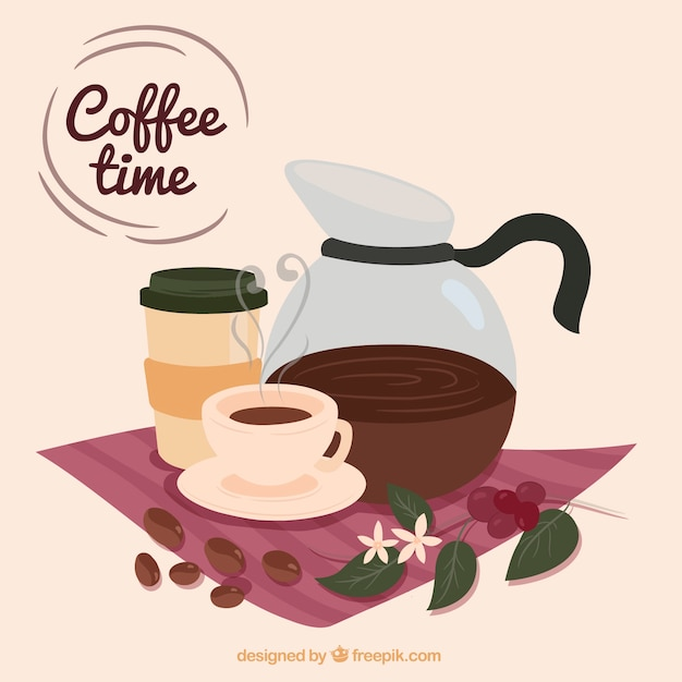 Cute background with coffee pot and coffee\ cup