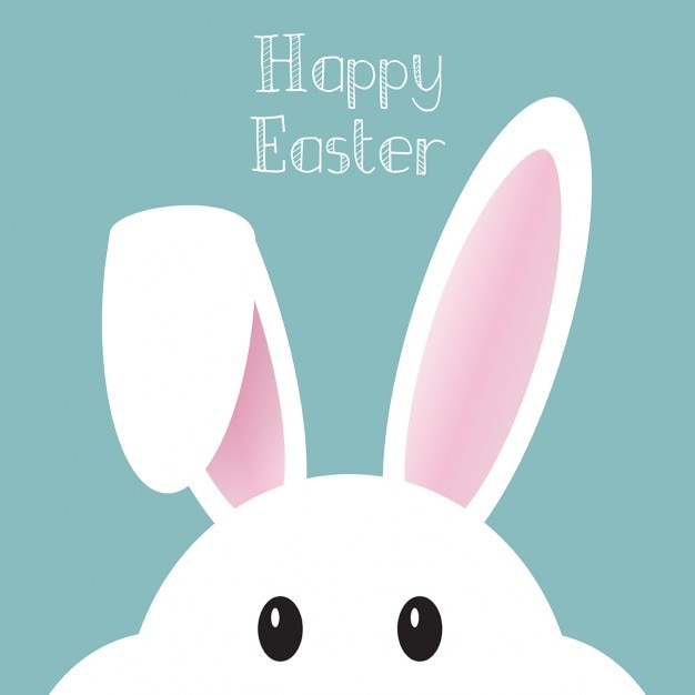 Cute background with Easter Bunny Free Vector