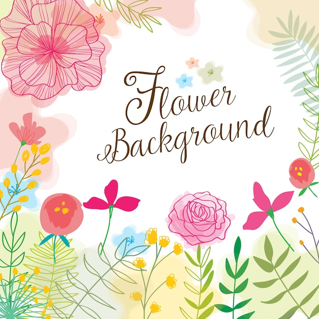 Cute background with hand drawn flowers and\ watercolors