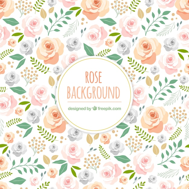 Cute background with hand drawn roses Vector Free Download