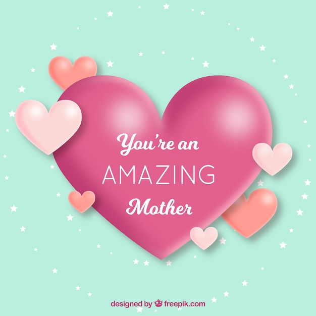Cute background with hearts for mother's day Free Vector
