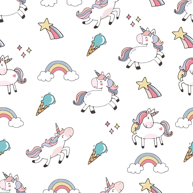 Cute background with unicorn Premium Vector