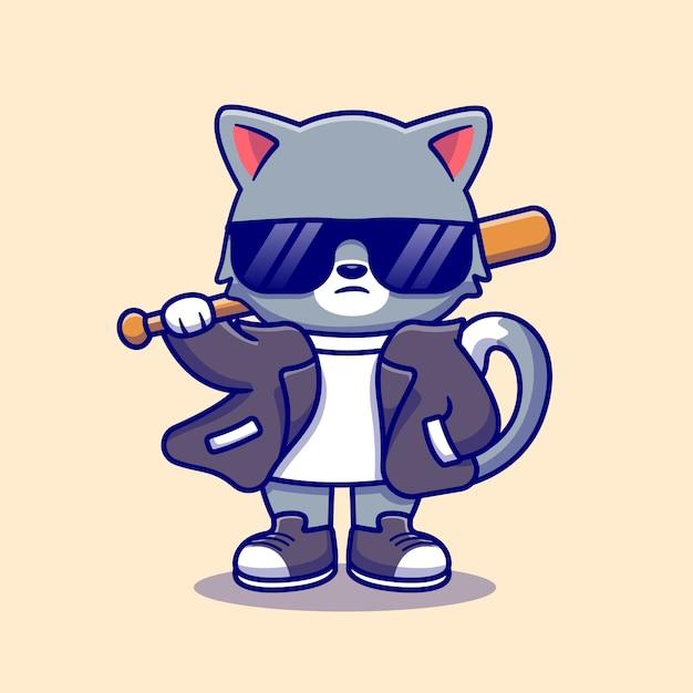 야구 방망이 만화 아이콘 일러스트와 함께 양복과 선글라스를 착용하는 귀여운 나쁜 고양이. 동물 패션 아이콘 개념입니다. 플랫 만화 스타일 무료 벡터