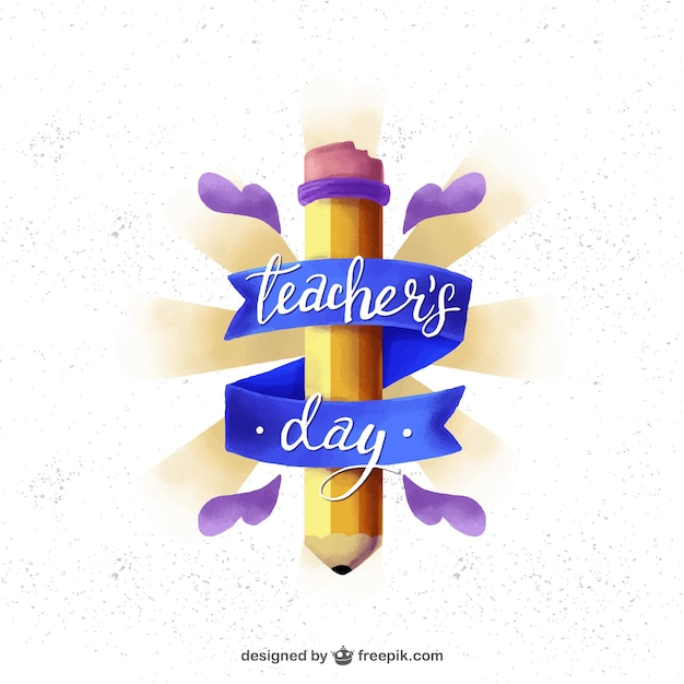 Cute badge of teacher\'s day with pencil and\ ribbon