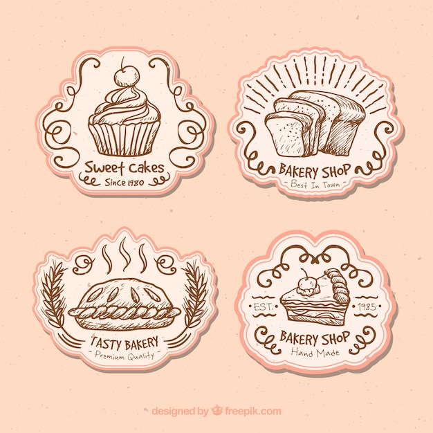Cute badges for a bakery Free Vector
