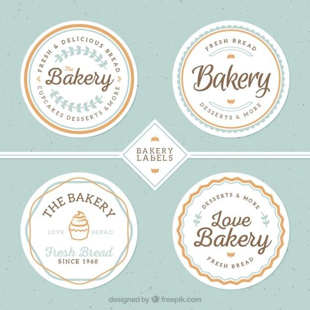 Cute bakery badges Free Vector