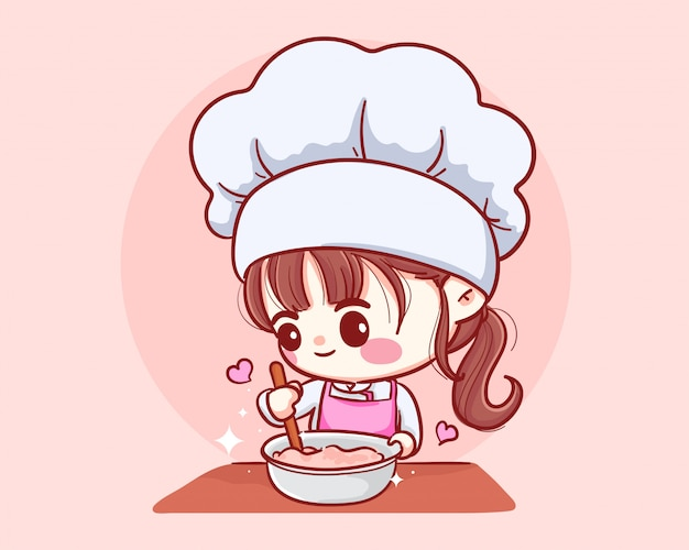 Cute Bakery Chef Girl Cooking Smiling Cartoon Art Illustration Logo Premium Vector