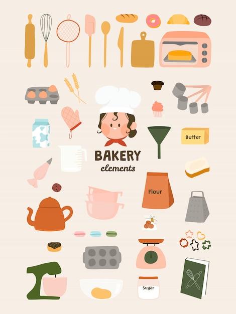 Симпатичные элементы пекарни Premium векторы