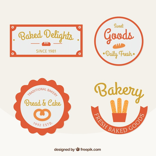 Cute Bakery Shop Logo Template Design Collection Set
