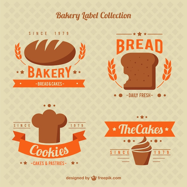 Cute bakery sticker collection free vector