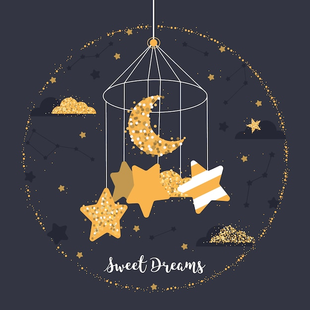 Cute ball with stars, moon, clouds, constellations Premium Vector