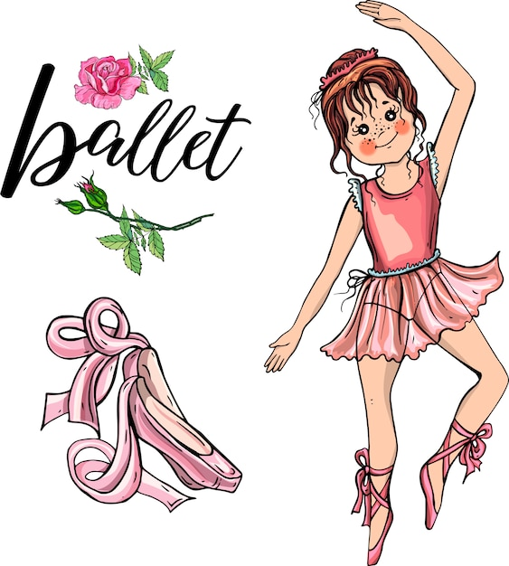 Cute ballerina girl Premium Vector