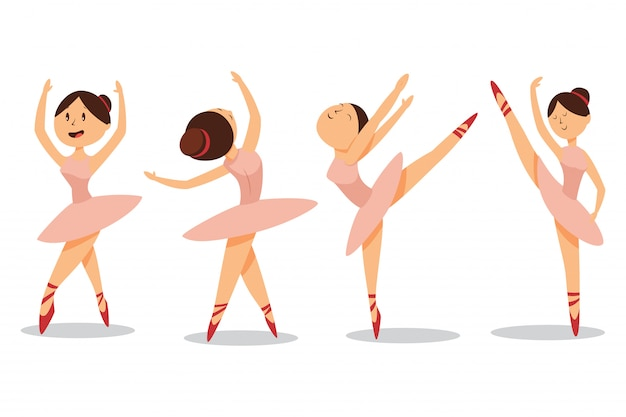 Cute ballerinas dance in ballet shoes and pink tutu. vector cartoon girl character set isolated Premium Vector