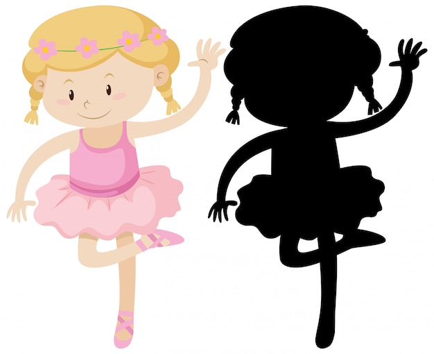 Cute ballet girl with its silhouette Free Vector