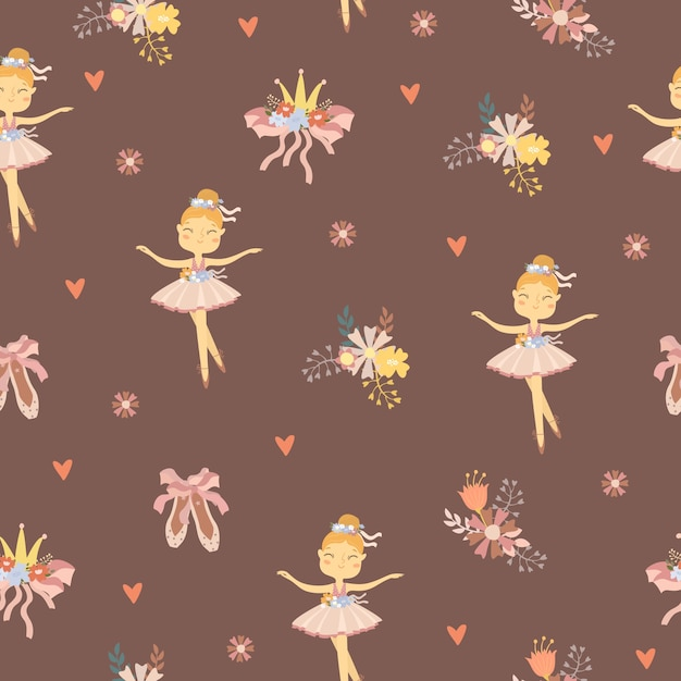 Cute ballet woman character seamless pattern Free Vector