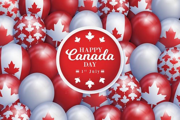 カナダのメープルリーフのシンボルとかわいい風船 無料ベクター