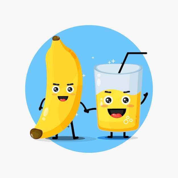 Cute banana and banana juice mascot holding hands Premium Vector