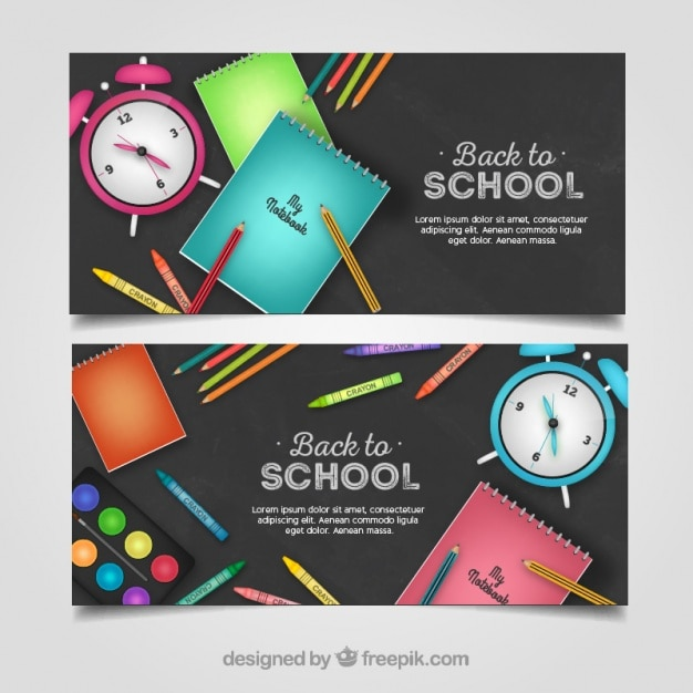 Cute banners for school Free Vector