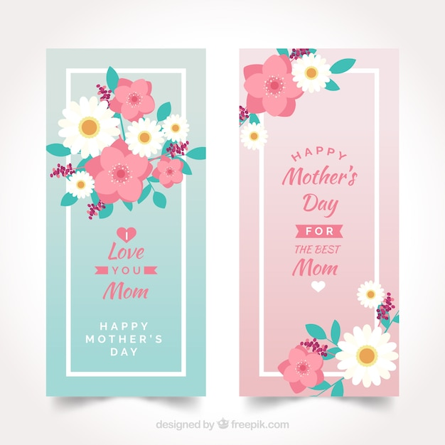 cute banners of mother s day vector free download