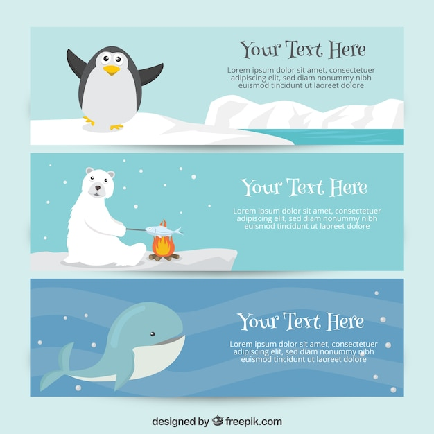 Cute banners with animals Free Vector