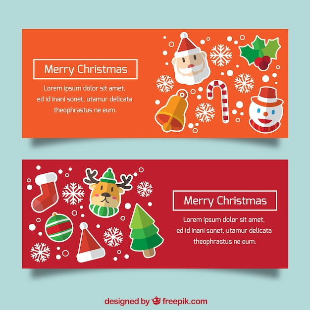 Cute banners with christmas characters in flat design Free Vector