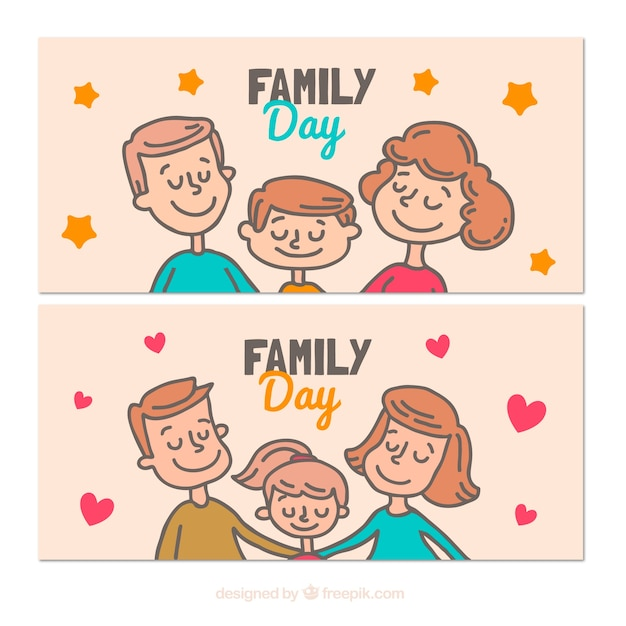 cute banners with for international day of families stock images