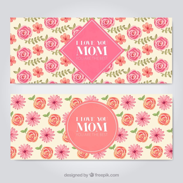 cute banners with watercolor flowers for mother s day stock images