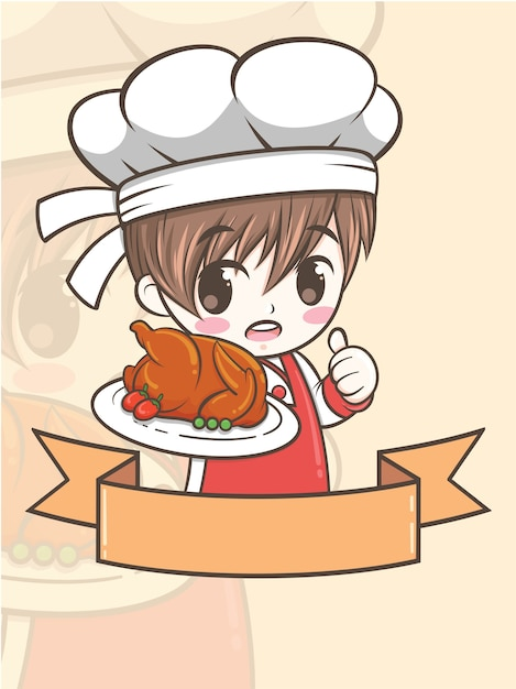 Cute barbecue chef boy holding a grilled chicken - cartoon character and logo illustration Premium Vector